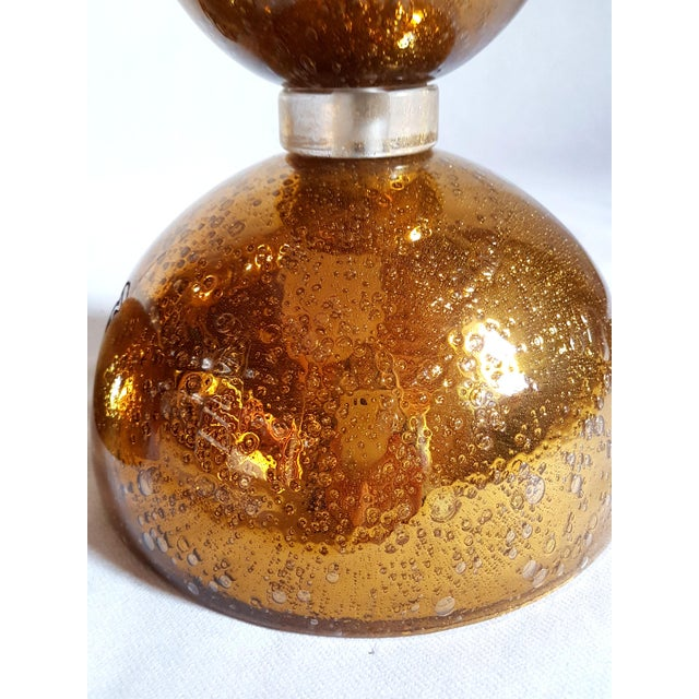 1970s Large Gold Mid Century Modern Murano Glass Table Lamps - a Pair For Sale - Image 4 of 6