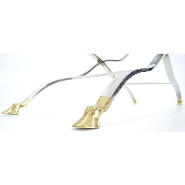 Mid Century Modern Chrome Glass Top Console Table with Brass Hoof-Feet For Sale - Image 10 of 10