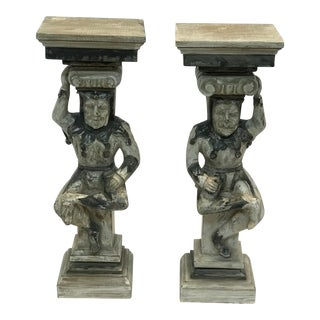 Wooden Court Vested Wall Brackets - a Pair For Sale