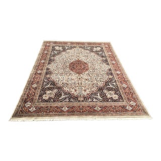 Hand-Knotted Kashan Style Area Rug - 8′11″ × 12′2″ For Sale
