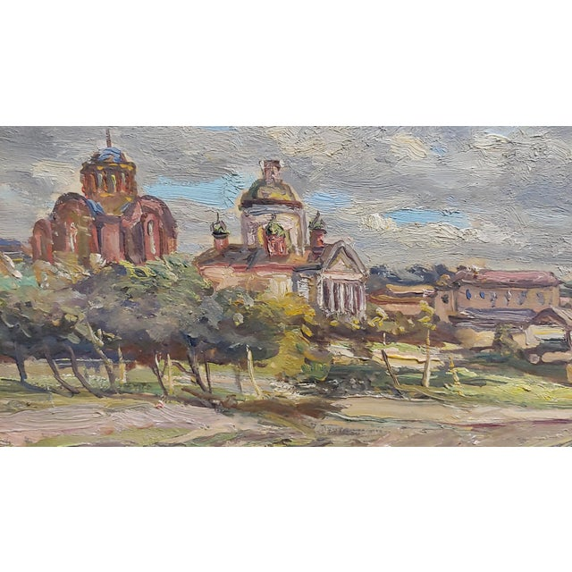1960s Tatyana Radimova -Khotkovo Village Landscape-1968 Russian Oil Painting For Sale - Image 5 of 10