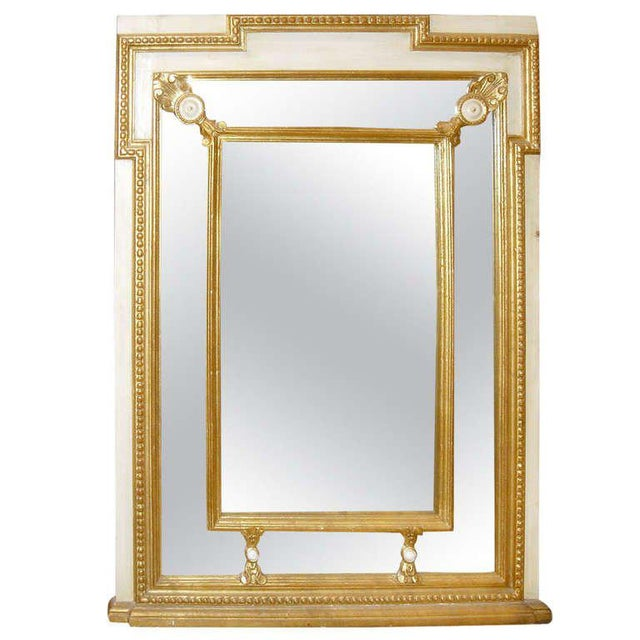 1930s Regency Style Mirror With Painted and Giltwood Decoration For Sale - Image 5 of 5