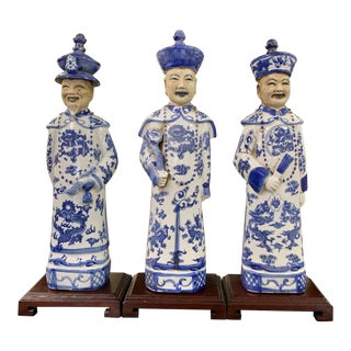 Chinese Porcelain Emperors Figurines - Set of 3 For Sale