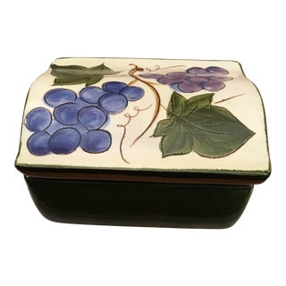 Vintage Stangl Pottery Grapes & Leaves Cigarette Box For Sale