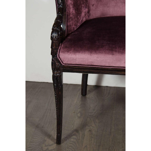 Hollywood Regency Pair of 1940s Wingback Chairs in Smoked Amethyst Velvet by Grosfeld House For Sale - Image 3 of 7