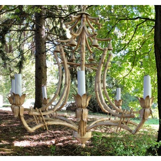 Vintage 8 Light Italian Chinese Chippendale Faux Bamboo Tole Metal Pagoda Chandelier Preview