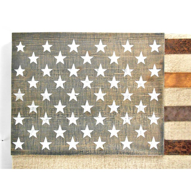 Large Rustic Wood & Leather American Flag Wall Art - Image 4 of 9