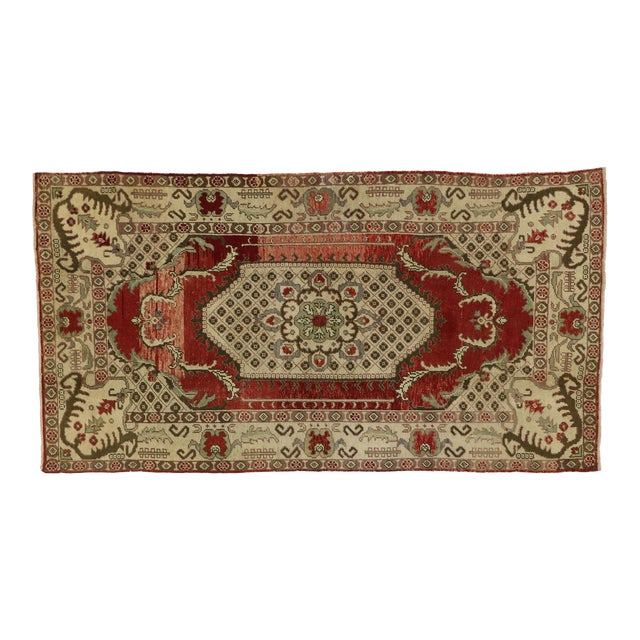 Vintage Turkish Oushak Gallery Rug - 04'09 X 09'00 For Sale
