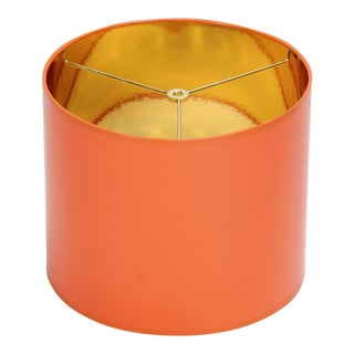 Orange High Gloss Drum Lamp Shade With Gold Lining For Sale