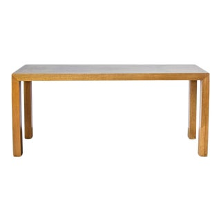 Mid-Century Modern Lane Burl Wood and Oak Parsons Sofa/Hall Table For Sale