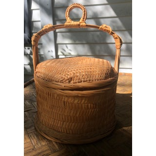 Chinese Natural Woven Wicker Bamboo Rattan Rice Wedding Basket Preview