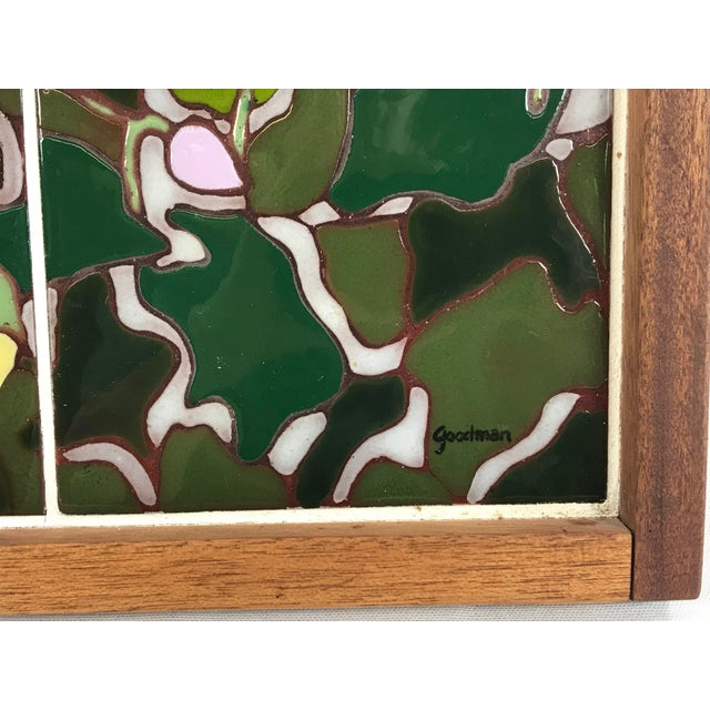 20th Century Art Nouveau Tile Artwork in Wood Frame by Roberta Goodman For Sale - Image 9 of 13
