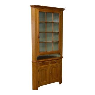 Antique 19th Century Pennsylvania Country Poplar Corner Cabinet For Sale