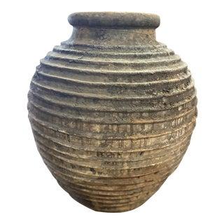 Large Antique Ribbed Greek Vessel For Sale