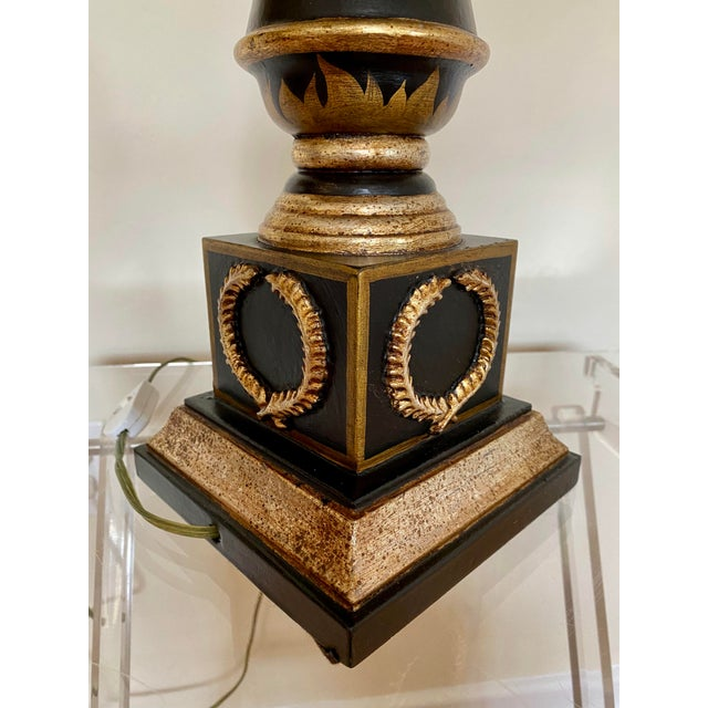 Italian Hand Painted Neoclassical Style Gilt Wood Lamps - a Pair For Sale - Image 10 of 13