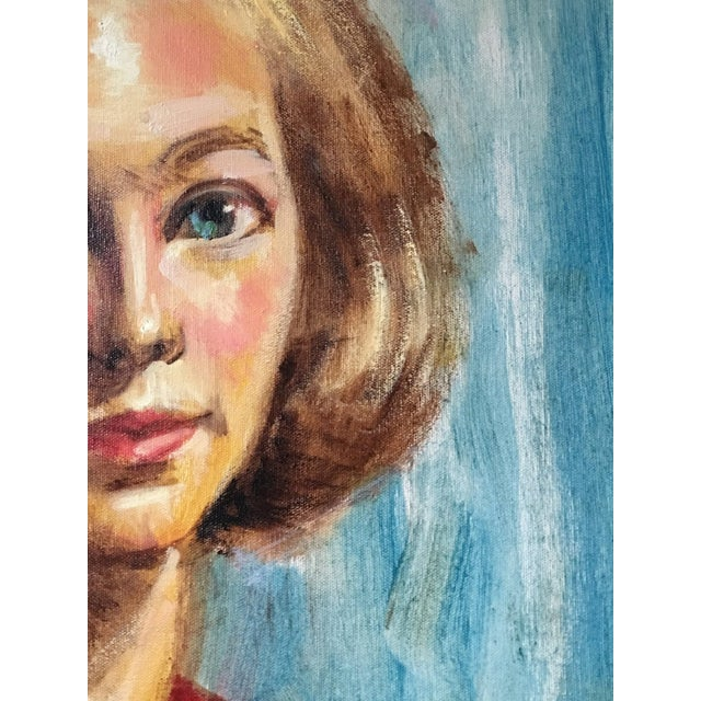 1950s Mid Century Modern Female Portrait Painting Vintage For Sale - Image 4 of 11