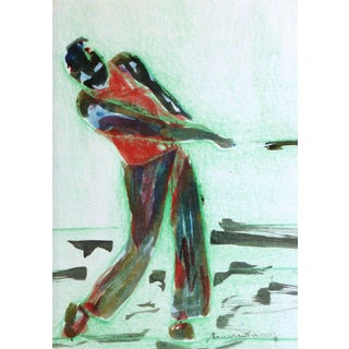 Vintage Monotype - Abstract Golfer For Sale