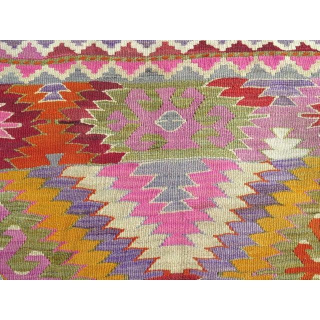 Textile Vintage Turkish Kilim Rug - 5′4″ × 10′10″ For Sale - Image 7 of 10