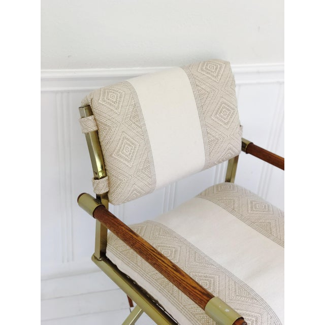 1970s Mid Century Brass Milo Baughman Style Campaign Director's Chair For Sale In Los Angeles - Image 6 of 11