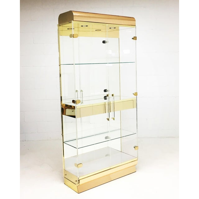 1970s Mid Century Lucite and Brass Display Cabinet With Drawer For Sale - Image 5 of 7