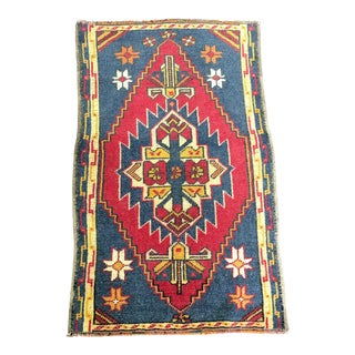 Aztec Turkish Handmade Wool Small Rug - 1′10″ × 3′1″ For Sale