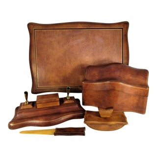 Vintage Italian Leather Desk Set - 6 Pieces For Sale