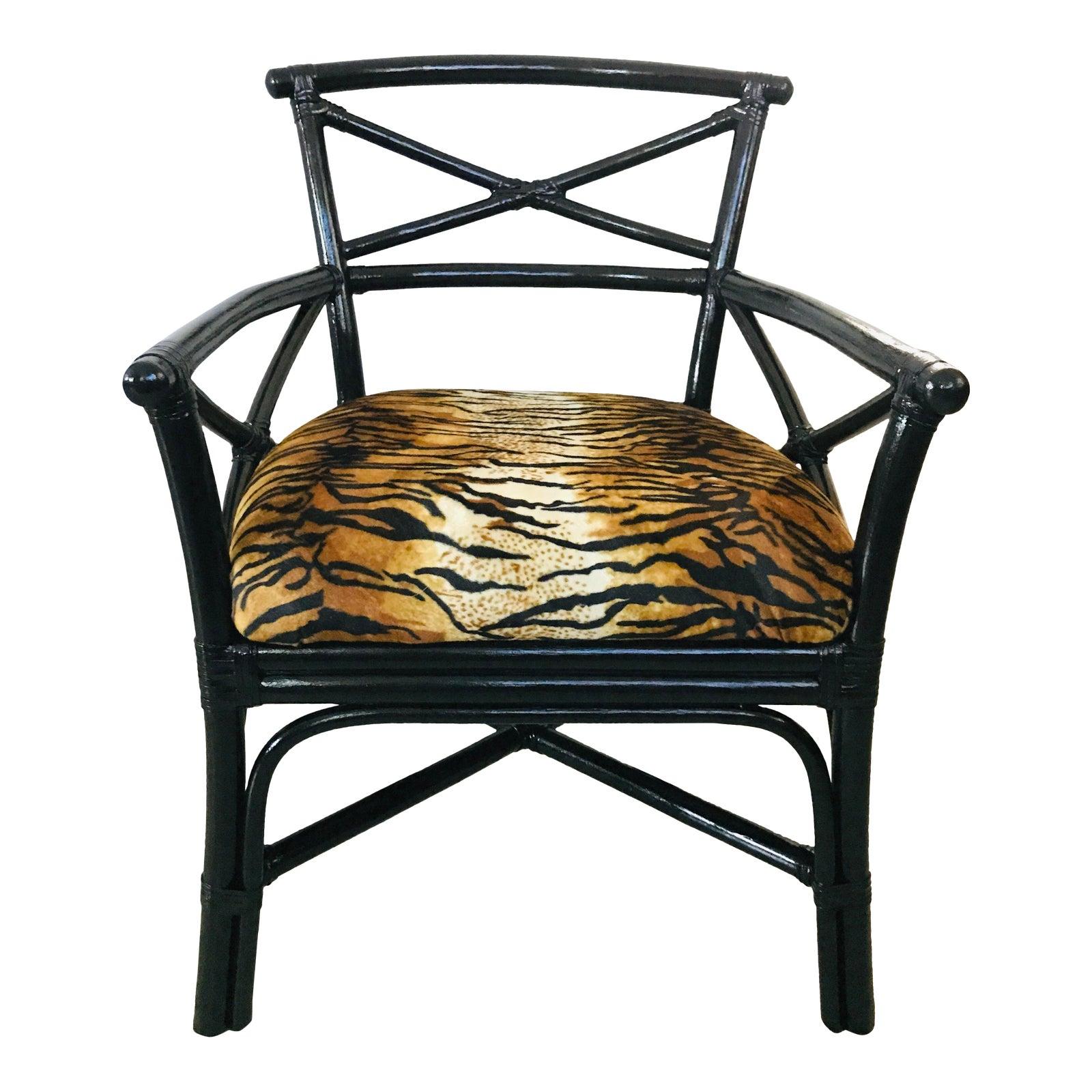Lane venture black rattan arm chair tiger animal print chairish
