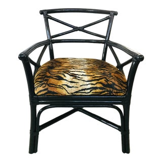 Lane Venture Black Rattan Arm Chair Tiger Animal Print For Sale