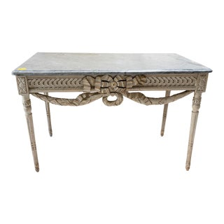 Mid 19th Century Louis XVI Gray Lacquered Marble Top Console Table For Sale