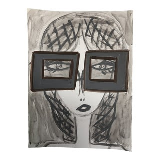 """Anastasia George """"Gray Shades"""" Original Gray & White Acrylic Face Painting For Sale"""