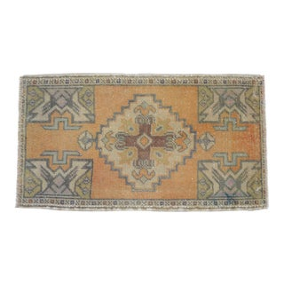 "Distressed Low Pile Turkish Yastik Rug Faded Mat - 1'8"" X 3' For Sale"