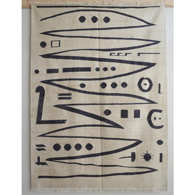 Paul Klee - Heroic Strokes of the Bow - Inspired Silk Hand Woven Area - Wall Rug 4′10″ × 6′7″ For Sale - Image 12 of 12