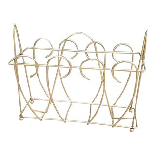 Hollywood Regency Brass Magazine Rack For Sale
