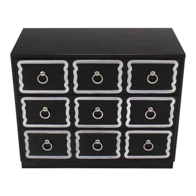 Mid-Century Modern Dorothy Draper Black and Silver Three Drawer Chest of Drawers For Sale