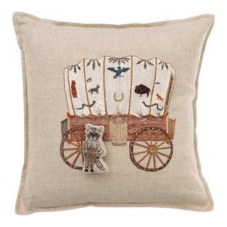 Raccoon Saddle Maker Wagon Pocket Pillow For Sale