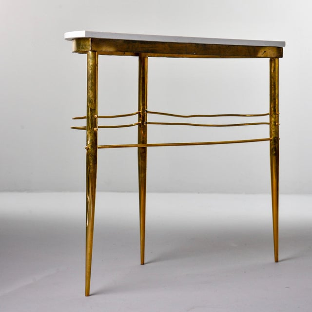 Mid-Century Italian White Marble Top Console With Brass Base For Sale In Detroit - Image 6 of 11