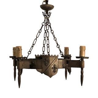 Antique French Fleur-De-Lis Iron Chandelier, Circa 1890. For Sale