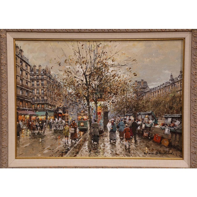 French Pair of Framed Oil on Canvas Parisian Street Scenes Signed Antoine Blanchard For Sale - Image 3 of 13