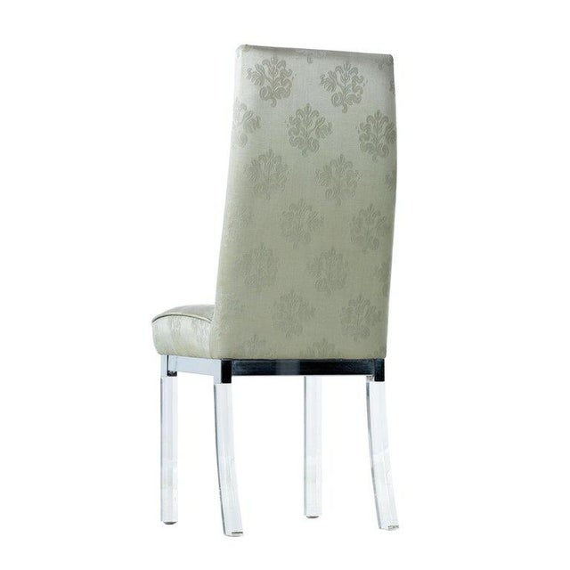 Mid-Century Modern Charles Hollis Jones Chrome Lucite Leg High Back Dining Chairs in Celadon Green For Sale - Image 3 of 8