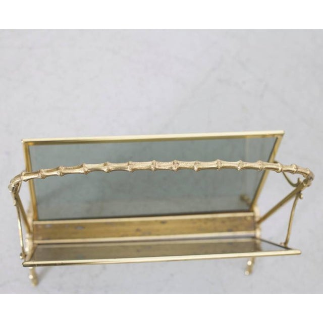 Maison Bagues Brass and Glass Faux Bamboo Magazine Rack For Sale - Image 6 of 8