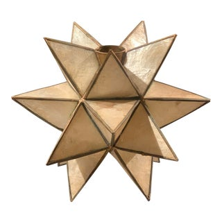 Capriz and Brass Star Candle Holder For Sale