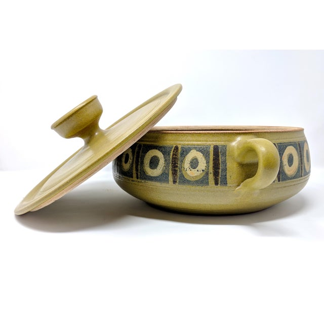 Mid-Century Modern 1970s Vintage Wishon-Harrell Pottery Covered Serving Dish For Sale - Image 3 of 10