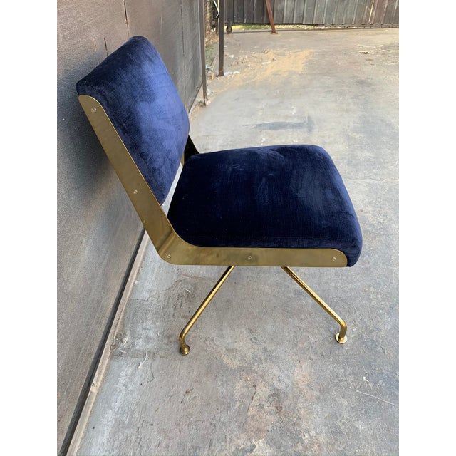 Contemporary Contemporary Rue Cambon Blue Velvet Swivel Office Chair For Sale - Image 3 of 5