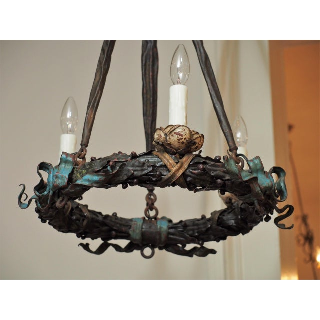 Polychrome Wreath Form Chandelier For Sale - Image 4 of 8