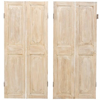 One Pair of Lovely French 19th Century Doors in Antiqued Beige and White Hues For Sale
