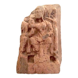 2nd - 4th Century India Maha Maya (Prediction of Asita) Red Sandstone Frieze For Sale