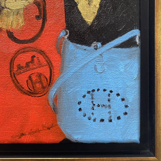 "Black ""Bunny With Blue Hermès"" Contemporary Acrylic Painting, Framed For Sale - Image 8 of 11"