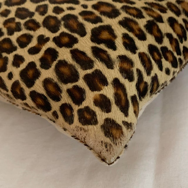 Animal Skin Leopard Pillow Cowhide Leather Pottery Barn For Sale - Image 7 of 11