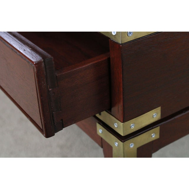 1980s Campaign Style Large Mahogany Bench With Storage Drawers For Sale - Image 5 of 12