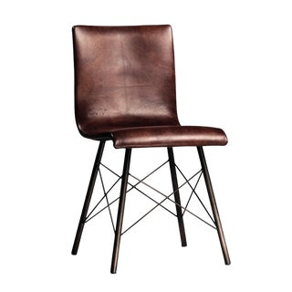Aged Leather Dining Chair For Sale